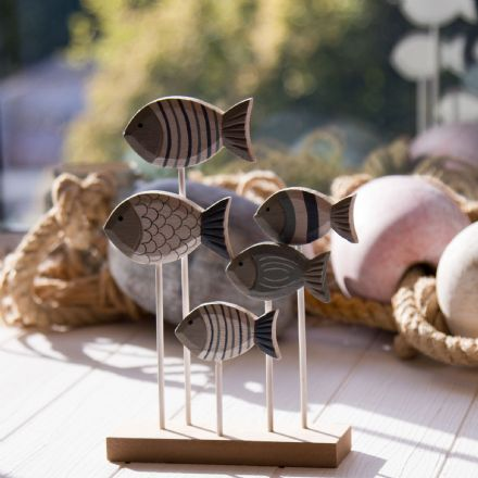 Wooden Shoal Of 5 Striped Fish on Plinth Coastal Decoration